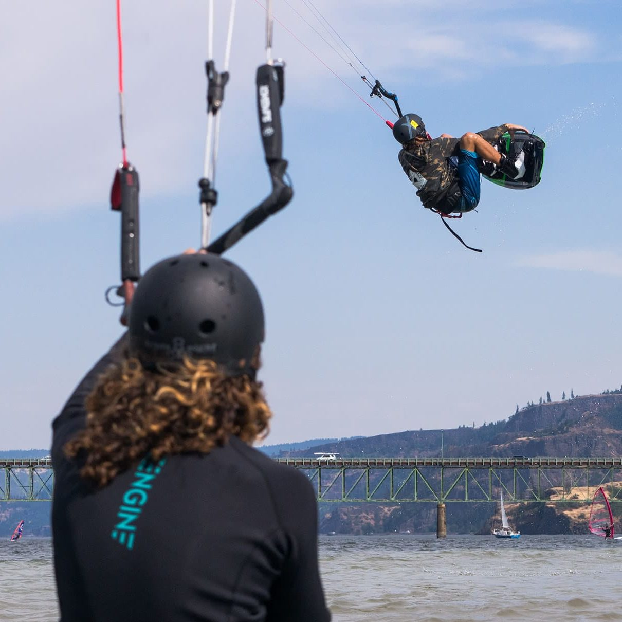 A young Kiteboarder competing in the Hood River Junior Jams competition